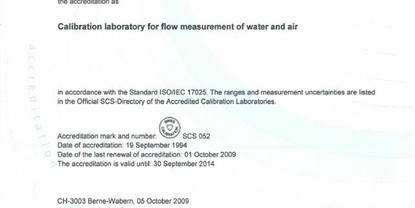 SAS Accreditation - Calibration laboratory for flow measurement of water and air at PC Flowtec